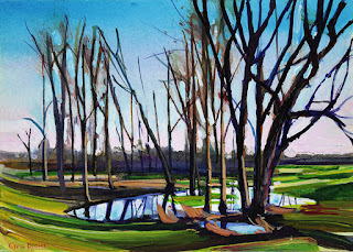 A painting of trees at the UB bike trail in Amherst NY.