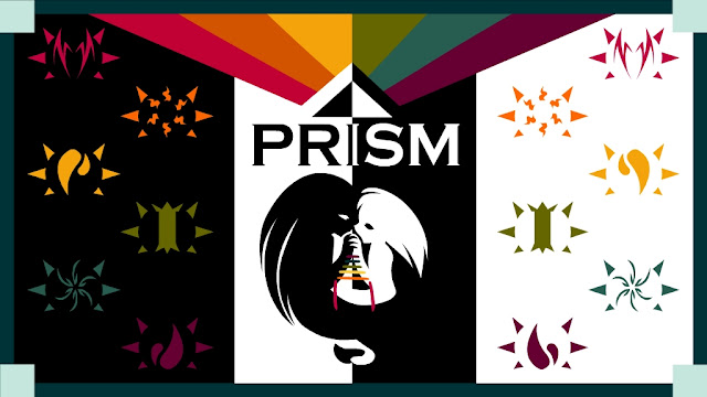 The colorful Prism Kickstarter cover with symbols decorating the sides, a rainbow of colors at the top, and two figures handfasted together in the center