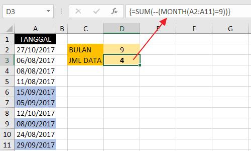 Contoh Penggunaan Double Unary Operator Pada Array Formula