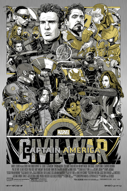 Captain America Civil War Vibranium Metal Variant Screen Print by Tyler Stout x Mondo