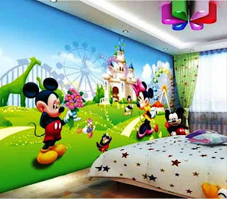 Wallpaper Dinding Kamar Anak Mickey Mouse
