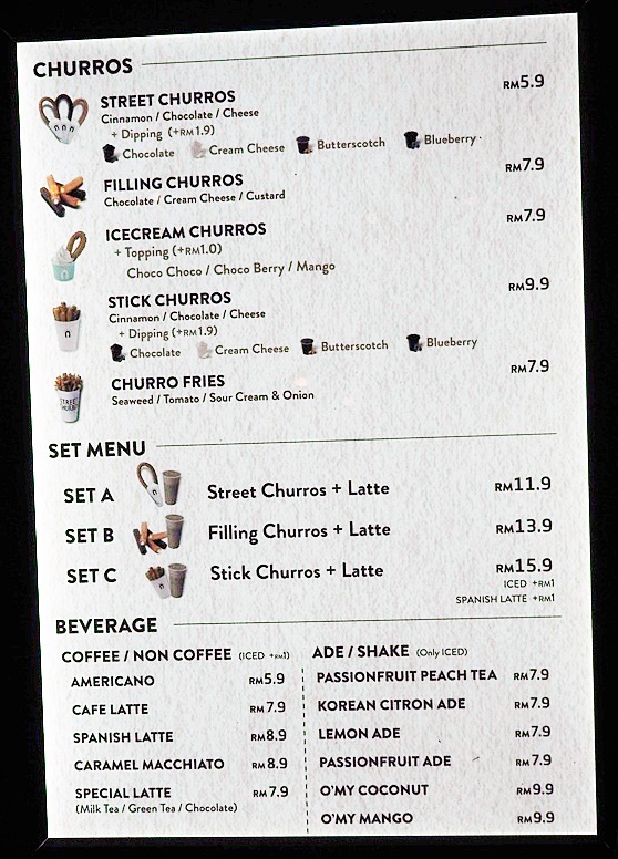 Street Churros Menu