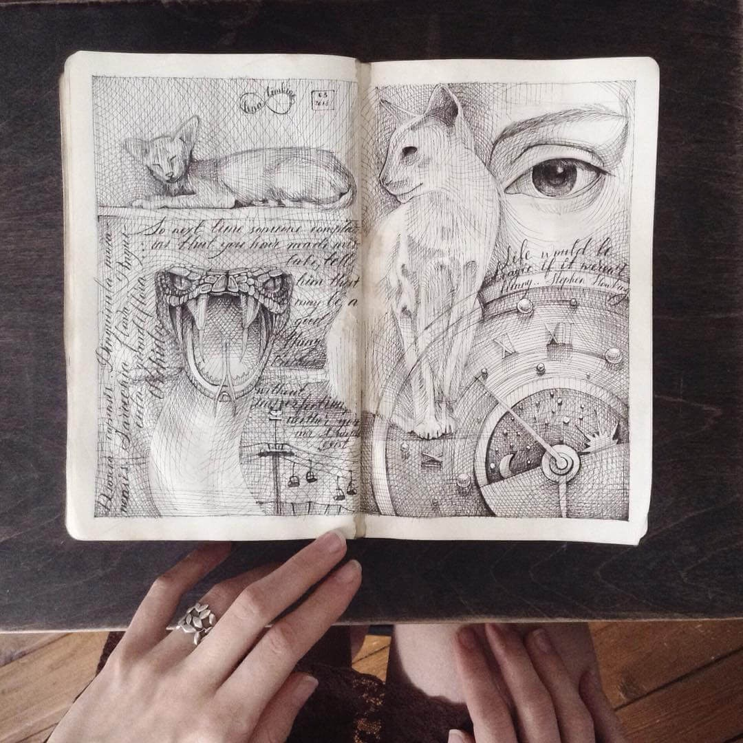 05-Cats-Snake-and-Time-Lena-Limkina-Intricate-Moleskine-Drawings-with-Cats-www-designstack-co