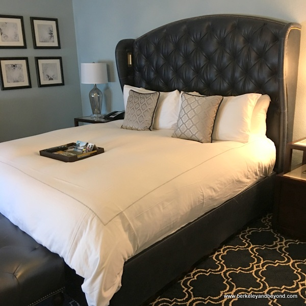 guest room bed at the Claremont Club & Spa, a Fairmont Hotel in Berkeley, California