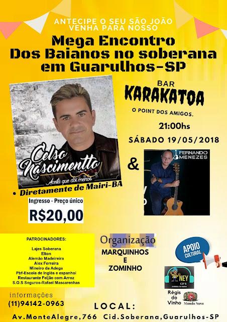 Celso Nascimentto realizará show no Mega Encontro dos Baianos, em Guarulhos-SP