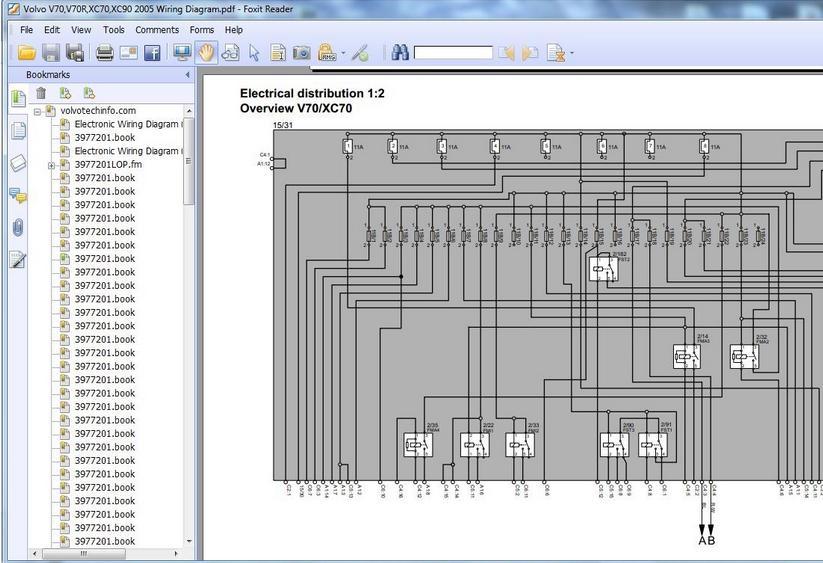 VOLVO V70,V70R,XC70,XC90 2005 WIRING DIAGRAM  Heavy Equipment Workshop Manuals