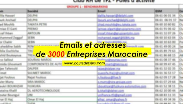 Base de Donnée Excel (Emails + Adresses) de 3000 Entreprises Marocaine