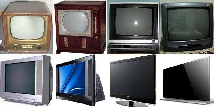 Uma imagem com oito modelos de televisores, fazendo uma linha do tempo, mostrando a evolução deste produto no decorrer dos anos até os dias atuais.