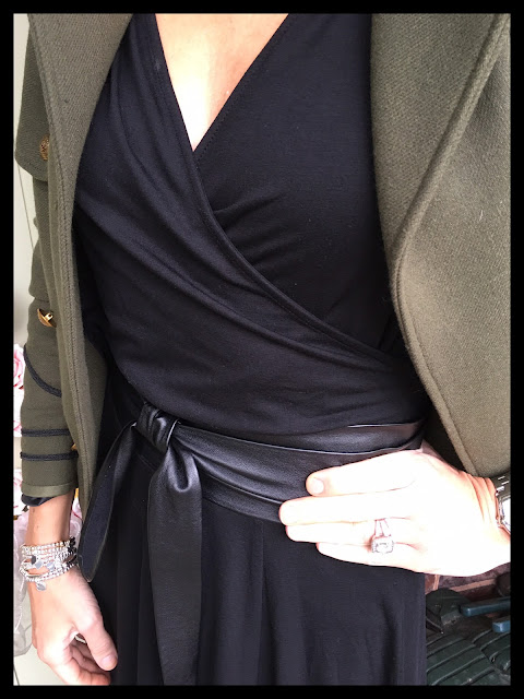 My Midlife Fashion, Zara Military Jacket, Kettlewell Colours Faux Wrap Long Sleeve Top