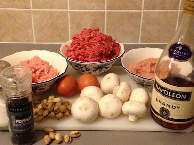 Fiambre de ternera con pistachos, ingredientes