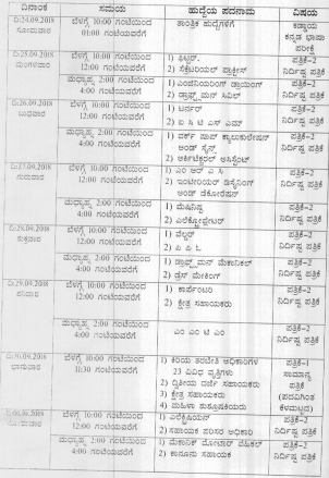 KPSC September Exam Dates