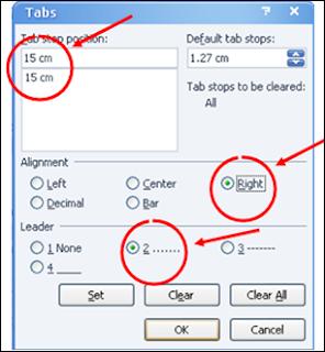 cara memuat daftar isi manual dengan titik-titik