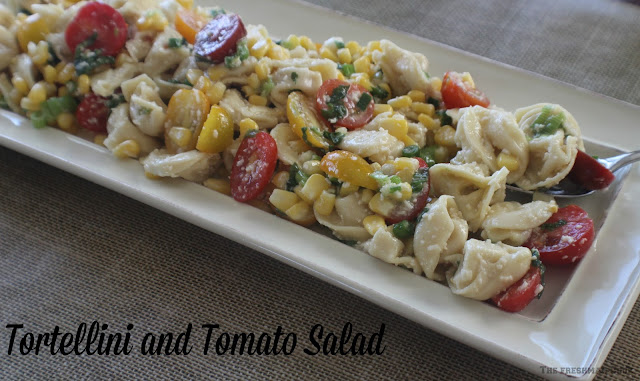 peppers, onions, tomatoes, refreshing, tortellini, corn, dressing