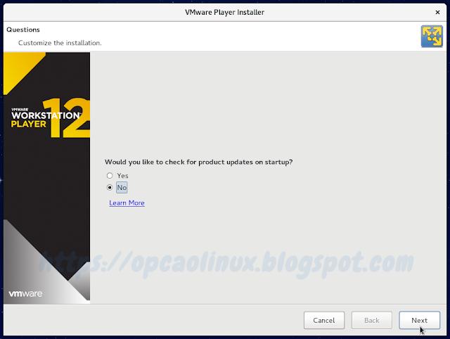 Opção de verificar ou não atualizações para o VMware Player na inicialização