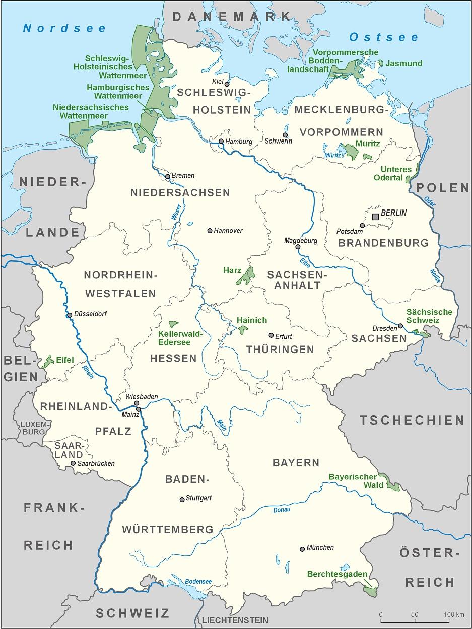 deutsche flüsse karte Gewässer in Deutschland Karte   Hydrographie: Flüsse, Seen, Meere  deutsche flüsse karte