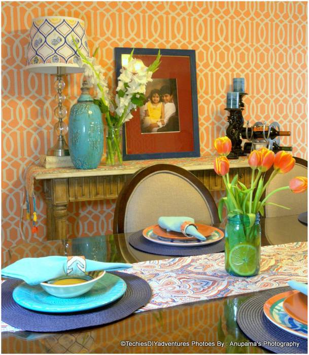 Orange and Blue Console Table Setting, Orange and Aqua Table Setting