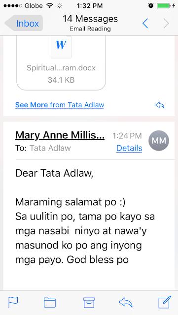 Maraming salamat po. Sa uulitin po, tama po kayo sa mga nasabi ninyo at nawa'y masunod ko po ang inyong mga payo. God bless po.
