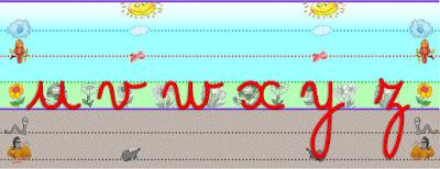 affiches apprendre la graphie, le tracer des lettres cursives, avec les lignes seyès