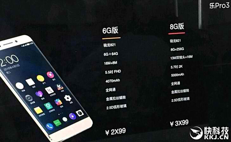 LeEco Pro 3 Leaks, Boast Snapdragon 821 Chip, 8 GB RAM , And 256 GB Storage!