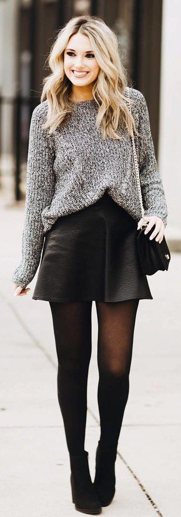 fashion trends | sweater + black skirt + boots