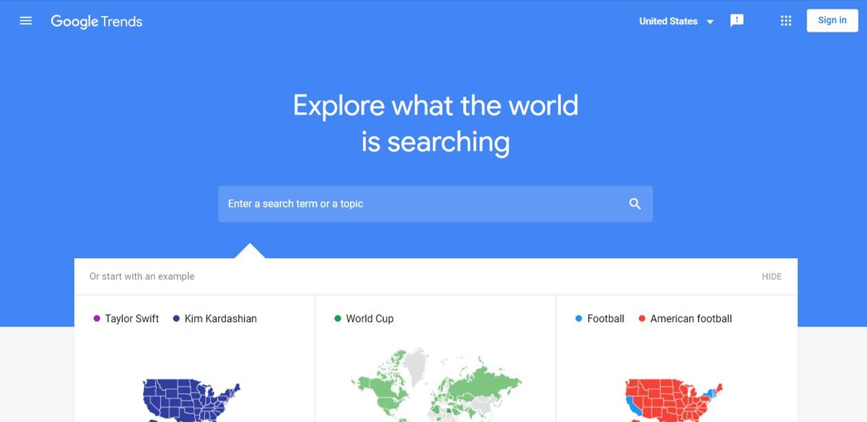 Google Trends free blogging tool