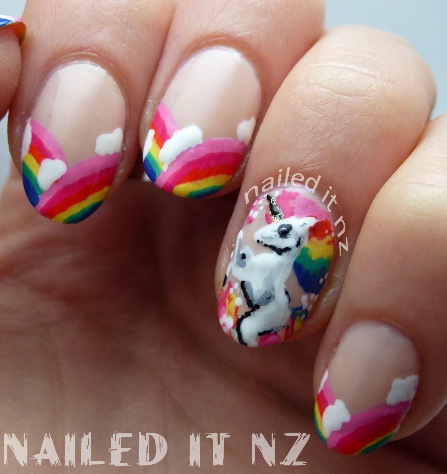 Unicorn Tipped Nail Art: Rainbow Unicorn Nail Art