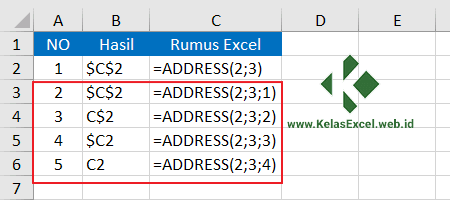 Contoh Fungsi Address Pada Rumus Excel 2