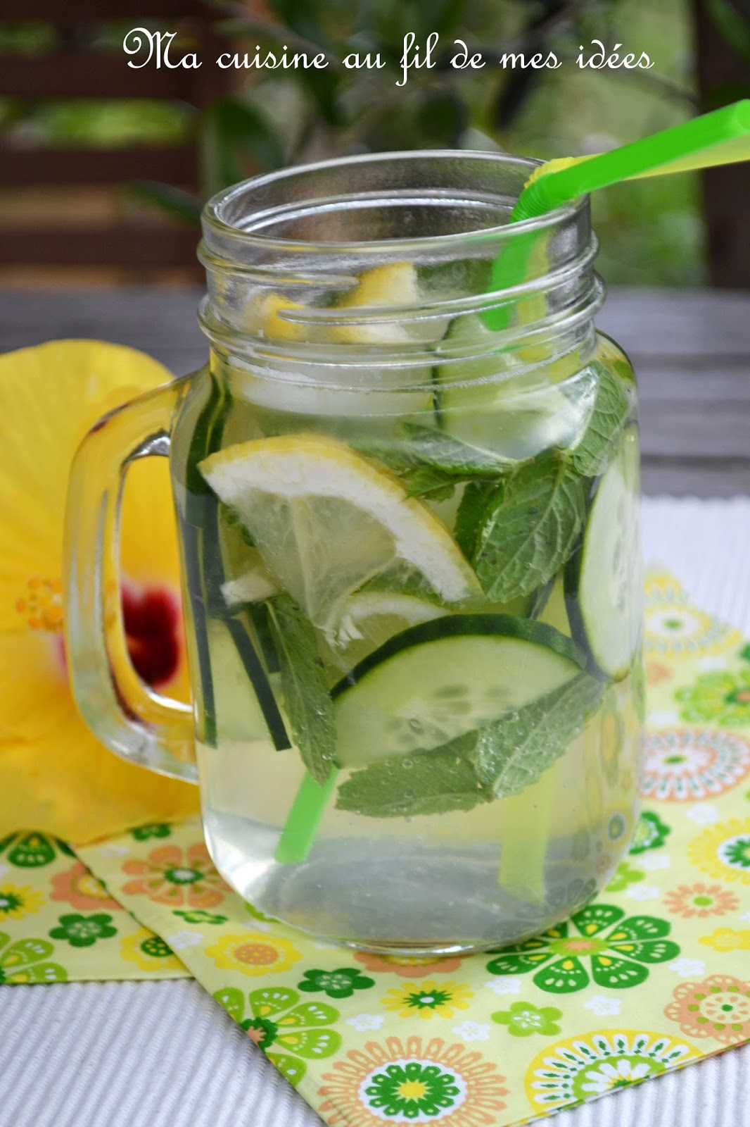 eau p tillante au concombre menthe citron vert et citron jaune detox water blogs de cuisine. Black Bedroom Furniture Sets. Home Design Ideas