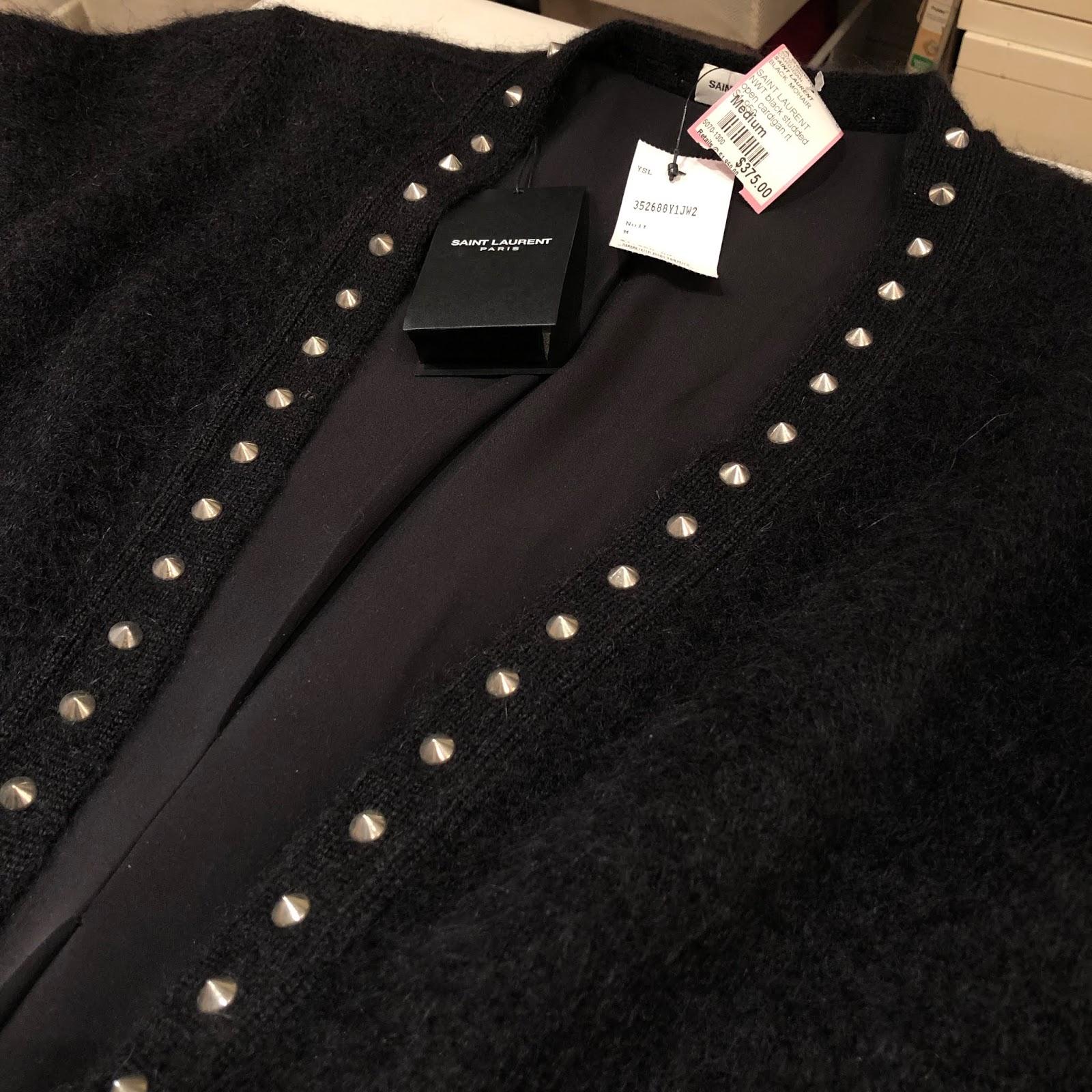 162d23af0b2d I love the stud detail on this Saint Laurent NWT Black Studded Open  Cardigan: