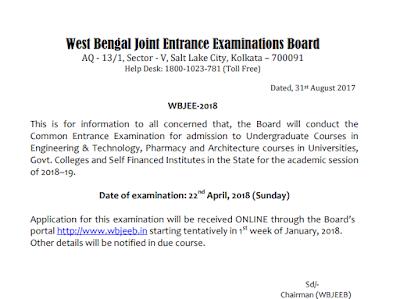 Wbjee 2018 Exam date