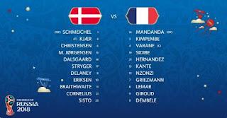 Susunan Pemain Denmark vs Prancis, Pogba Cadangan
