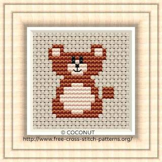 free baby bear cross stitch pattern