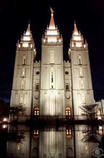 Cramer Imaging's professional quality fine art photograph of the Salt Lake City Utah Temple at night with a reflection in water