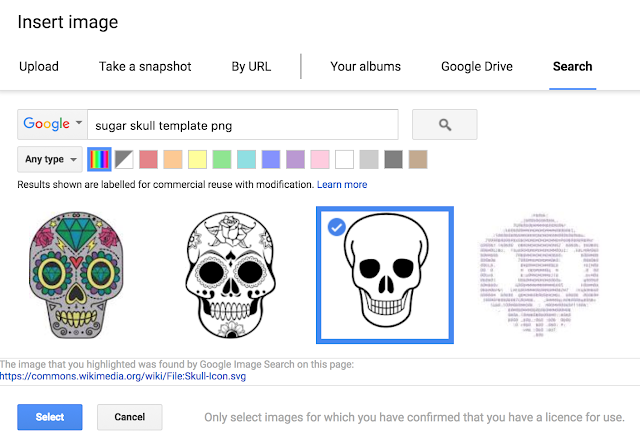 image shows how to insert a skull into Google Slides