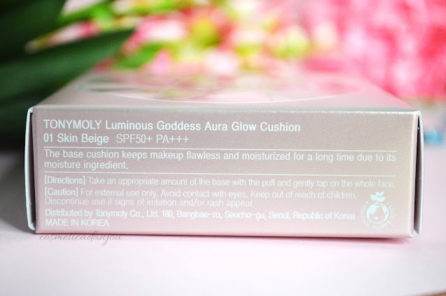 TONYMOLY Luminous Goddess Aura Glow Cushion SPF50+ PA+++ #1 Skin Beige packaging