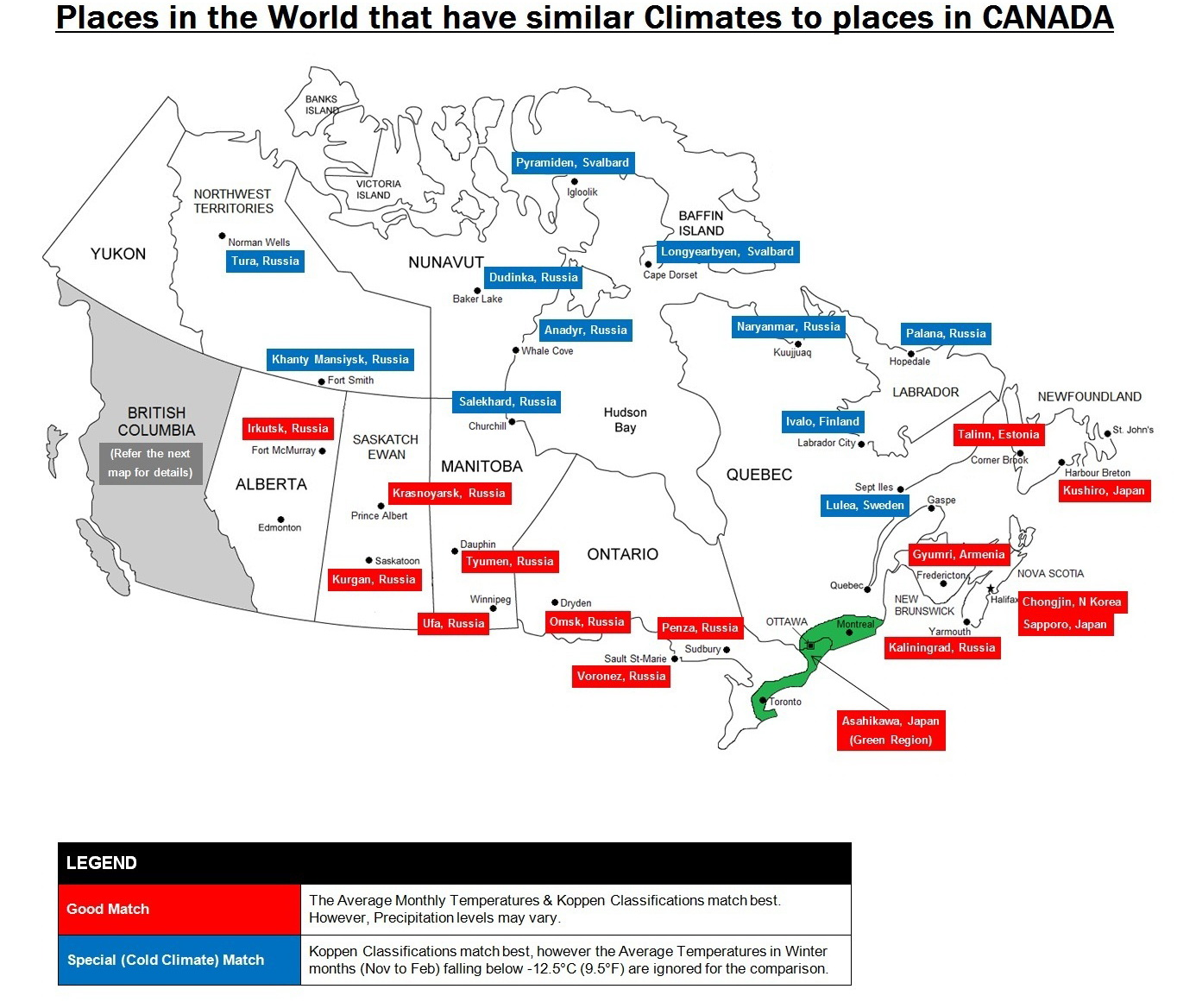 Places in the World that have similar climates to places in Canada