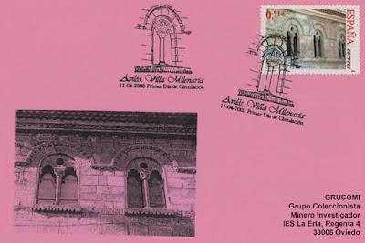 Tarjeta del matasellos PDC del sello de Avilés, Villa Milenaria