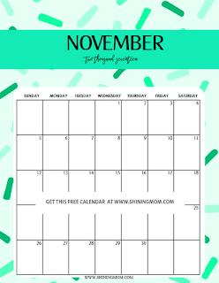 Free Printable Calendar November 2018