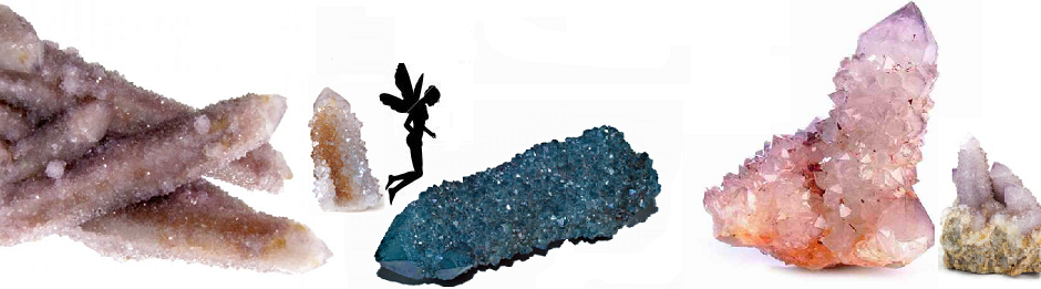 Amethyst and Aura Barnacle or Spirit Quartz Crystals