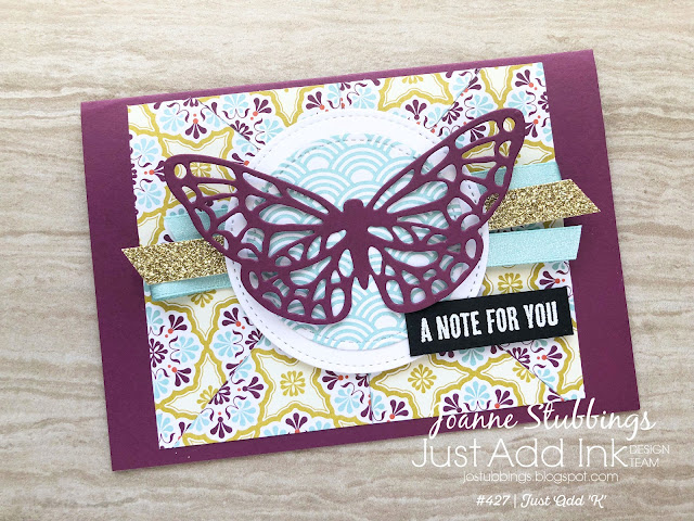 Jo's Stamping Spot - Just Add Ink Challenge #427 Kaleidoscope Technique using Sycamore Street DSP & Springtime Impressions Thinlits by Stampin' Up!