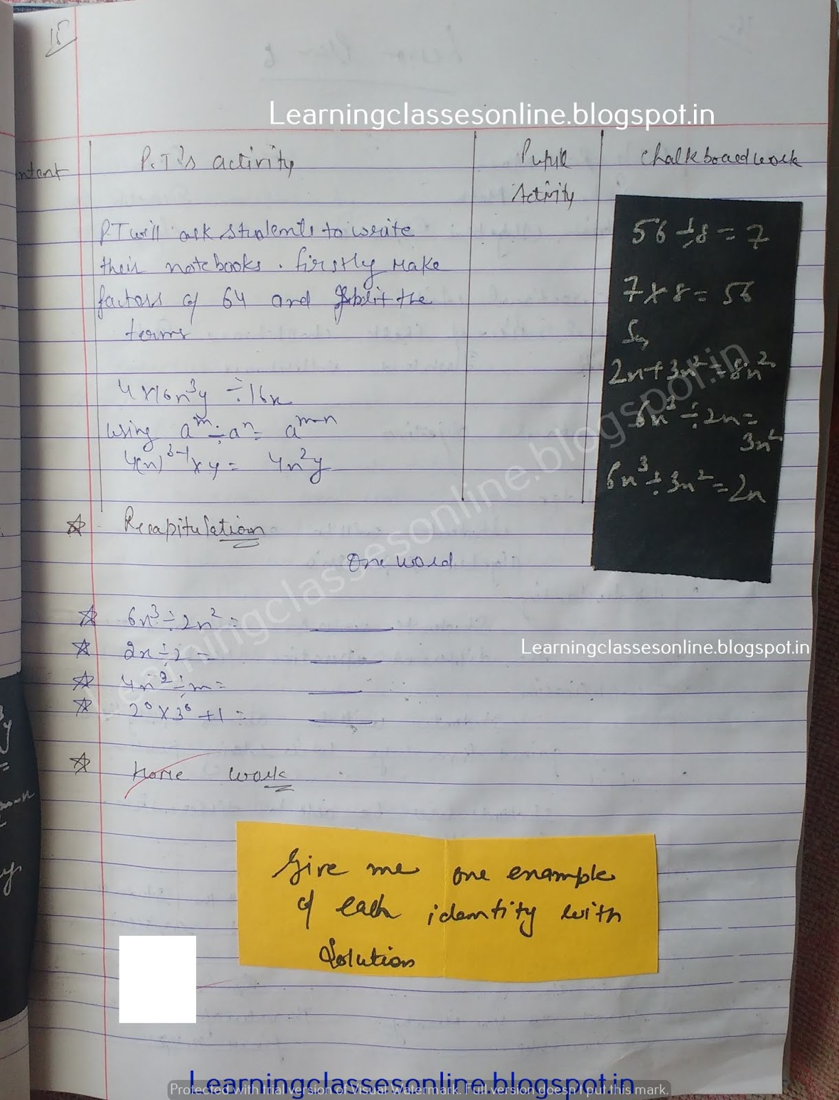 Lesson Plan Of Maths For Class 8,