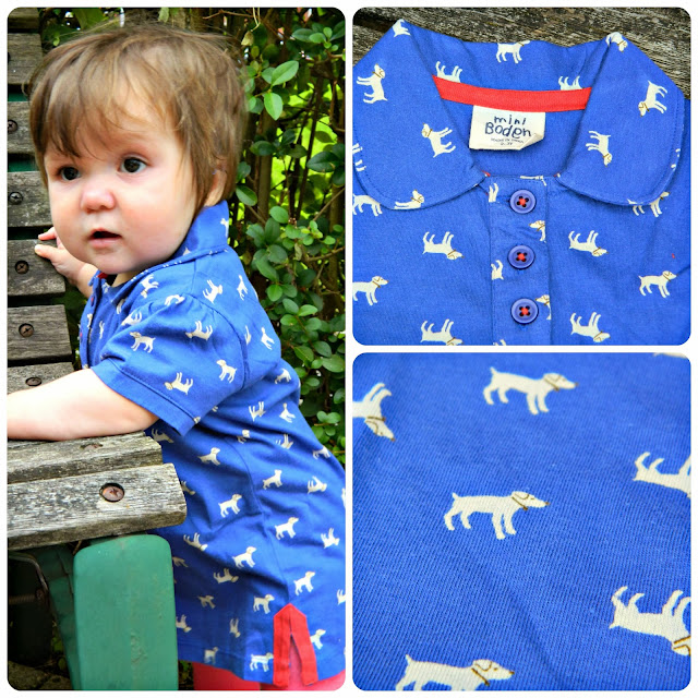 Boden Kids Dog Print Blue shirt Baby girl polo eBay