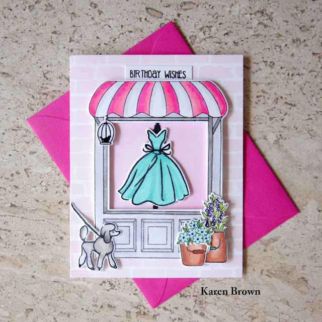 Handmade Dress Shop Scene Card