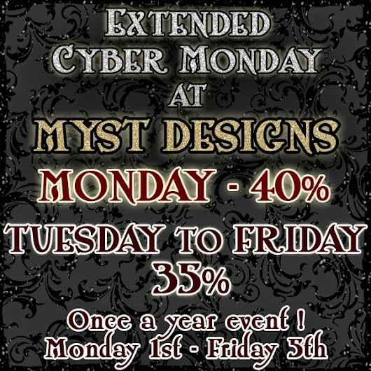 The Madness goes on at Myst Designs - SALE ALL WEEK!
