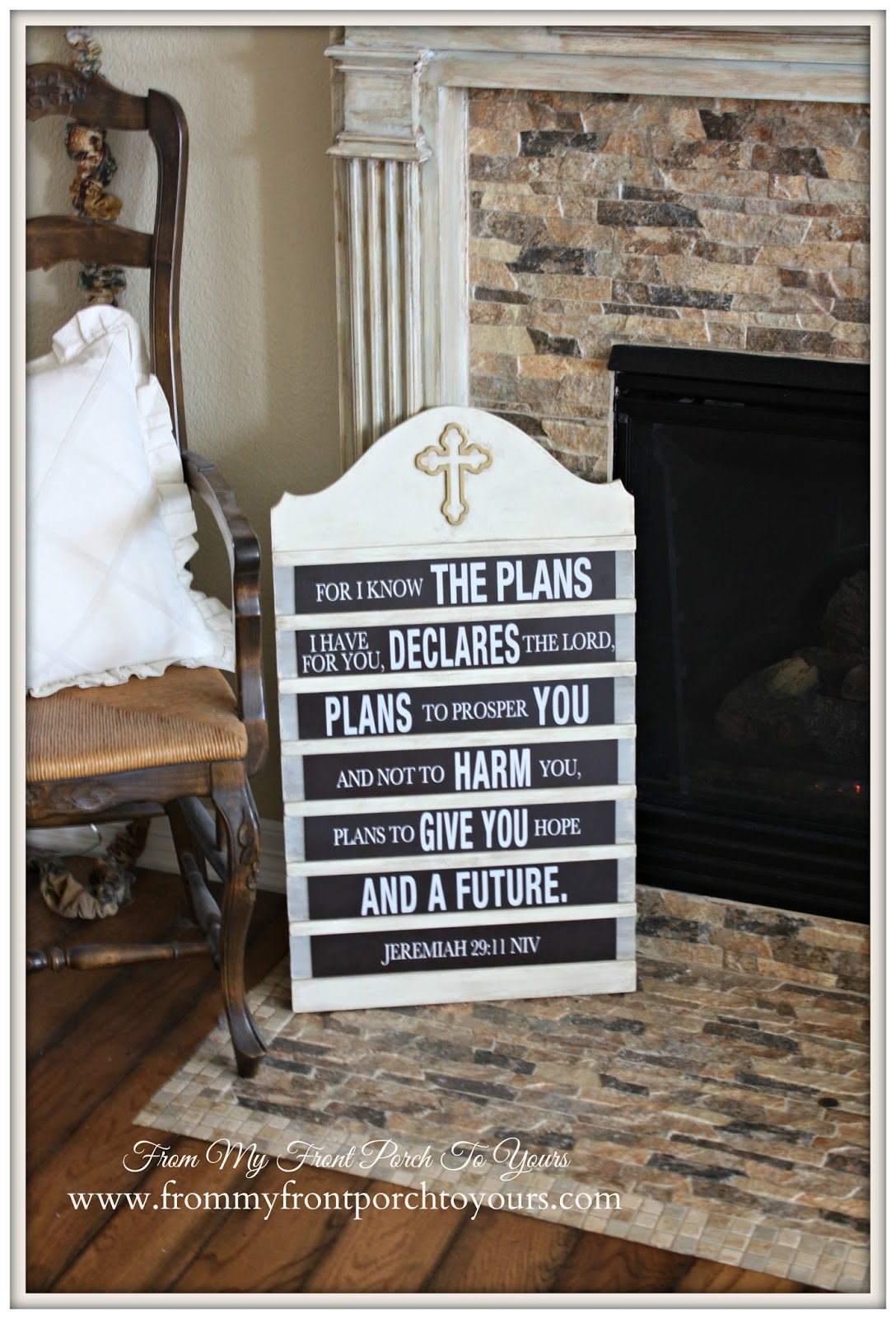 DIY Vintage Inspired Hymnal Board-French Country Mantel Vignette- From My Front Porch To Yours