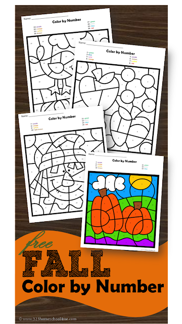 FREE Fall Color by Number - these free printable color by number math worksheets are great for helping preschool, prek, kindergarten, and first grade practice identifying numbers while strengthening fine motor skills with a fun fall twist: scarecrow, apples, pumpkins, fall leaves, and more)