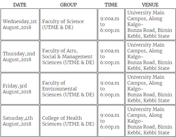 FUBK UTME & DE 2018 Screening Time Table