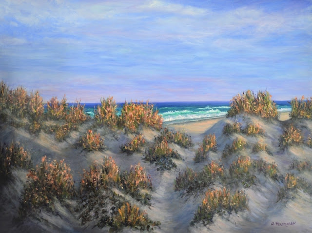 Painting of Coastal Dunes and Waves