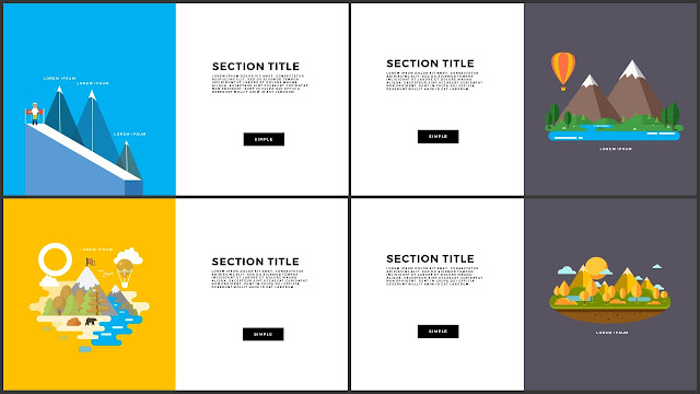 Flat Design Mountains Section Title PowerPoint Template 1-4