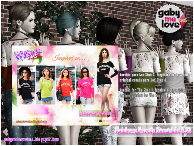 Rainbows Sweetly Sweatshirt V.S3 ~ Asian Fashion, Sims 3. Otras Versiones.